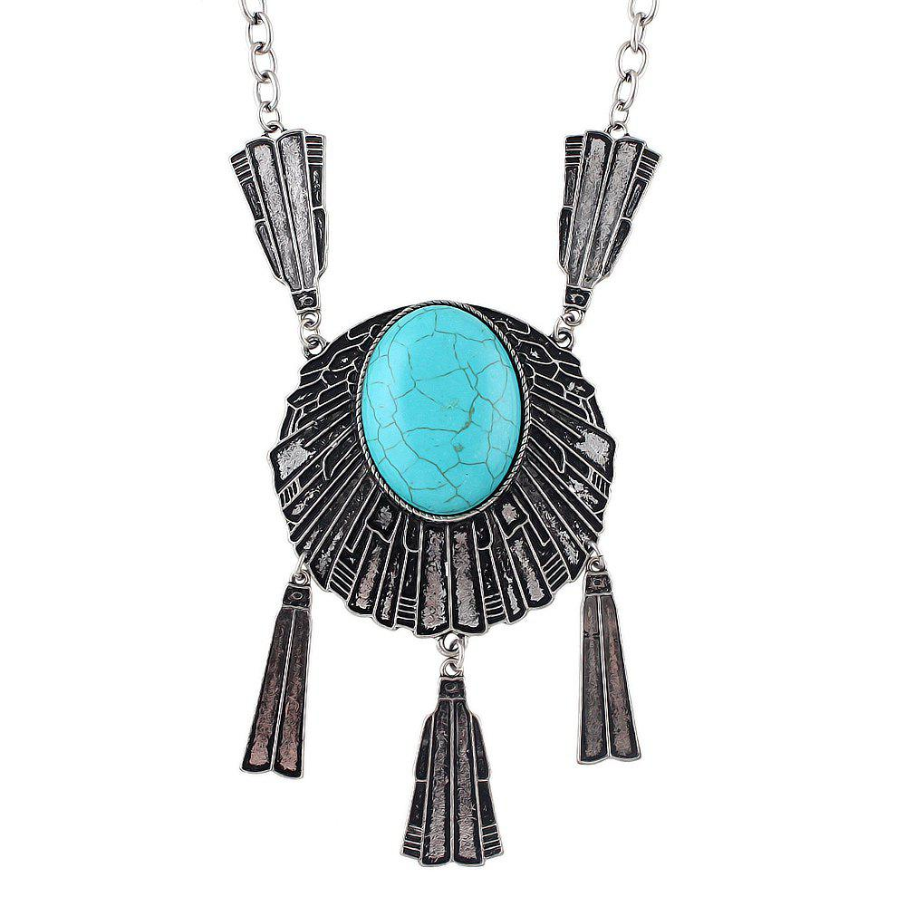 Metal Chain Turquoise Geometry Pendant Necklace - multicolor