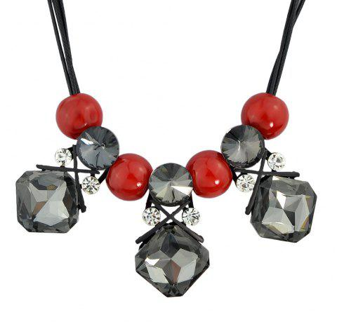 Large Square Crystal Bead Pendant Necklace for Women - BLACK