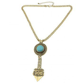 Metal Long Chain with Turquoise Geometric Pendant Necklace - GOLD