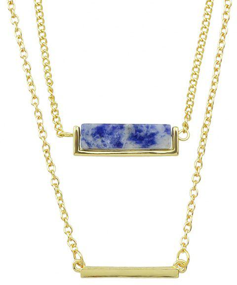 Metal Multilayer Chain Natural Stone Pendant Women Necklace - BLUE