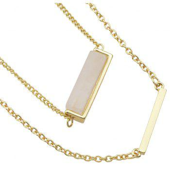 Metal Multilayer Chain Natural Stone Pendant Women Necklace - BEIGE
