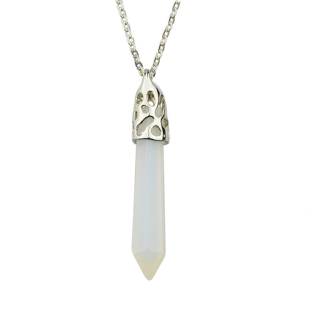 Metal Long Chain with Natural Stone Pendant Necklace - multicolor F