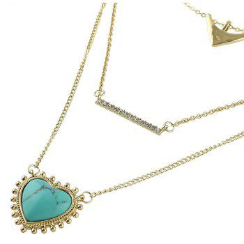 Metal Multilayer Chain with Heart Geometric Shape Necklace - multicolor A