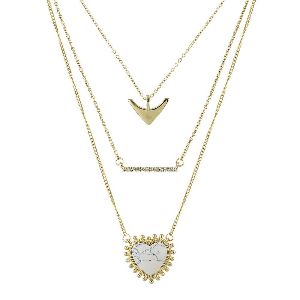 Metal Multilayer Chain with Heart Geometric Shape Necklace - multicolor B