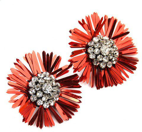 New Design Sequins Flower Earrings Big Statement Floral Crystal for Women - LOVE RED