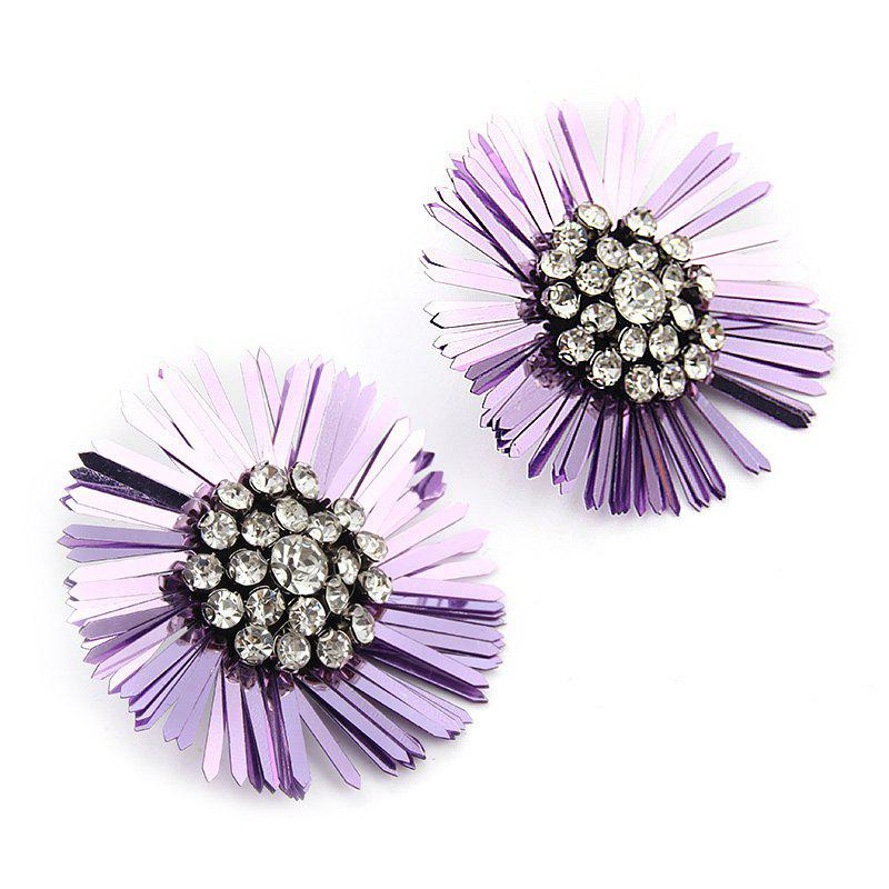 New Design Sequins Flower Earrings Big Statement Floral Crystal for Women - COTTON CANDY