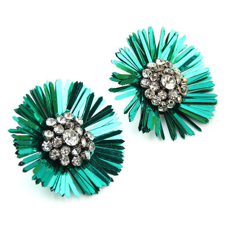 New Design Sequins Flower Earrings Big Statement Floral Crystal for Women - SPRING GREEN