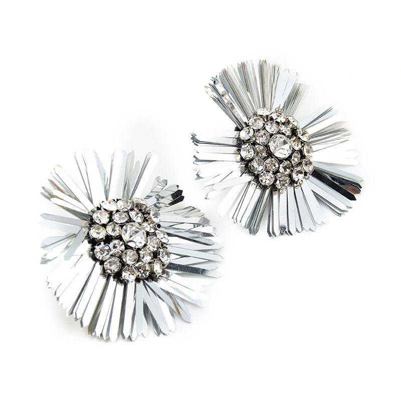 New Design Sequins Flower Earrings Big Statement Floral Crystal for Women - SILVER
