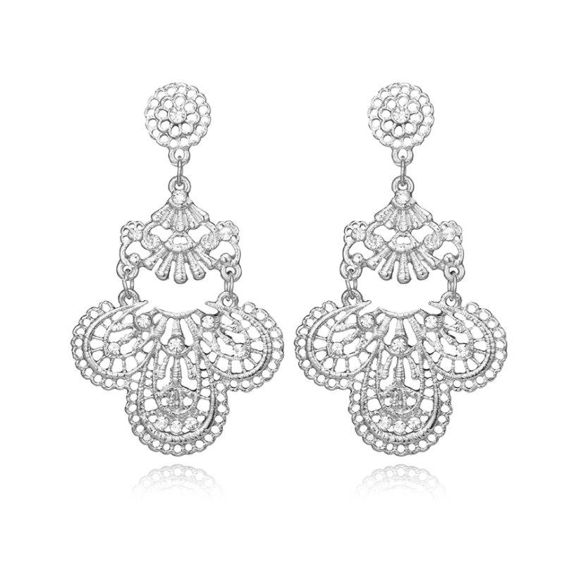 Fashion Jewelry Elegant Gold Color Metal Hollow Earrings for Women Gift - SILVER
