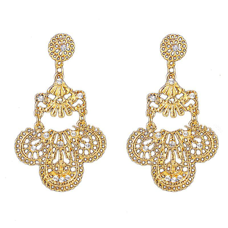 Fashion Jewelry Elegant Gold Color Metal Hollow Earrings for Women Gift - GOLD