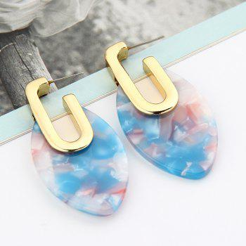Fashion Trend Geometry Marble Pattern Earrings Vintage Acrylic Resin for Women - CORAL BLUE