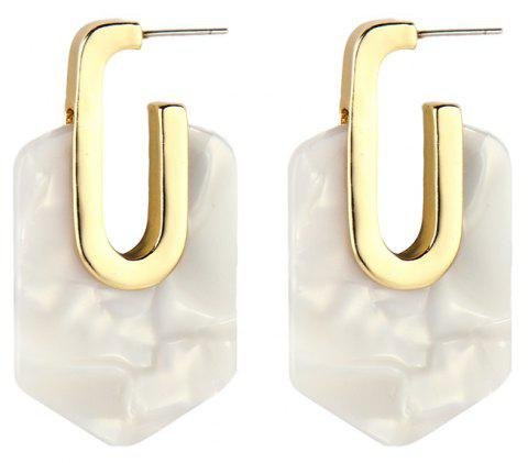 Fashion Brincos Multi-Style Geometric Metal Resin Pendant Earrings For Woman - WHITE