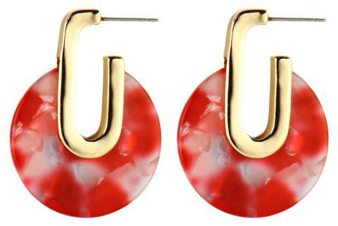 Fashion Colorful Round Geometry Acetic Acid Earrings for Women - BEAN RED
