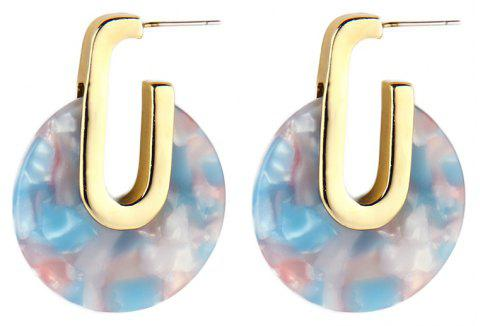 Fashion Colorful Round Geometry Acetic Acid Earrings for Women - WATER