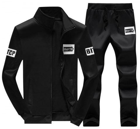 Men's Fall Casual Sports Suit - BLACK XL