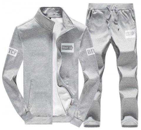 Men's Fall Casual Sports Suit - LIGHT GRAY L