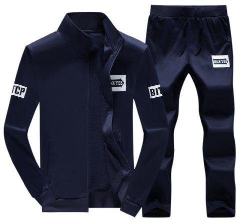 Men's Fall Casual Sports Suit - DEEP BLUE M