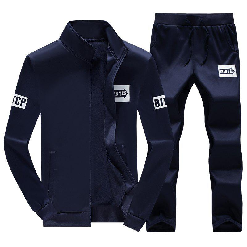 Men's Fall Casual Sports Suit - DEEP BLUE 3XL
