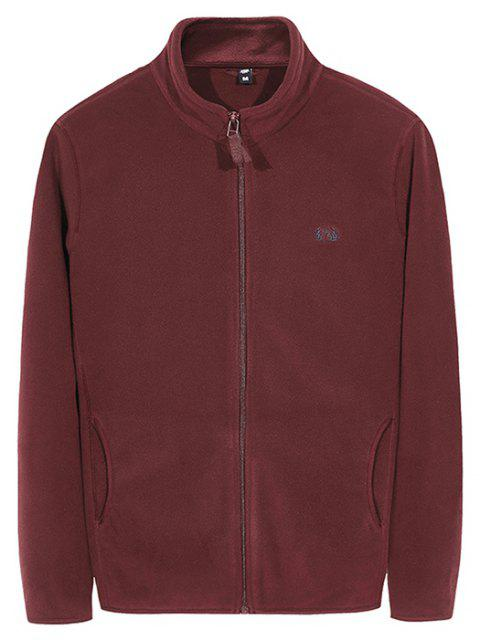 Men's Autumn Casual Plain Coat - RED WINE 3XL
