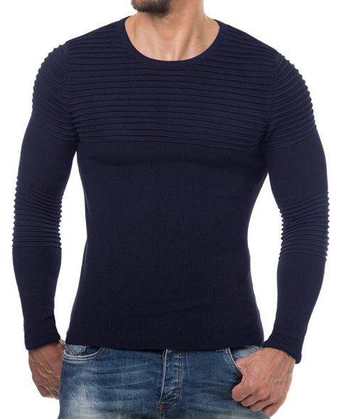 Men's Solid Color Casual Wild Fashion Striped Slim Sweater - CADETBLUE XL
