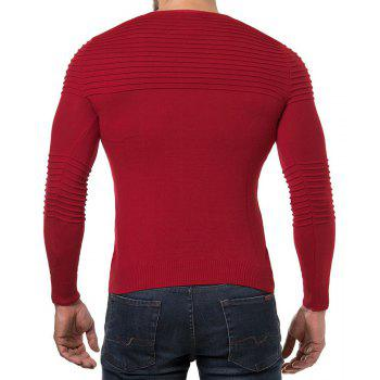 Men's Solid Color Casual Wild Fashion Striped Slim Sweater - RED L