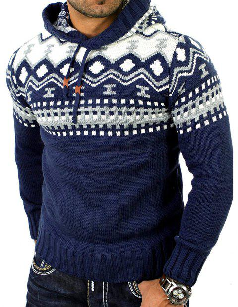 Men's Trend Hit Color Fashion Printed Casual Sweater - CADETBLUE XL
