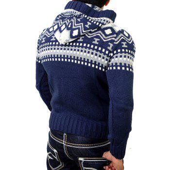 Men's Trend Hit Color Fashion Printed Casual Sweater - CADETBLUE M