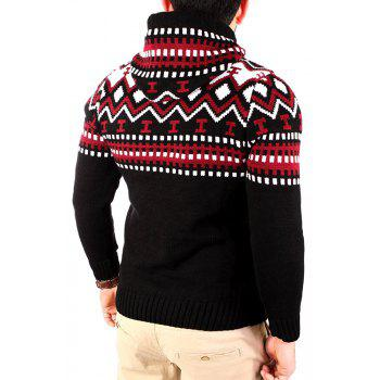 Men's Trend Hit Color Fashion Printed Casual Sweater - RED M