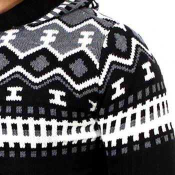 Men's Trend Hit Color Fashion Printed Casual Sweater - BLACK M