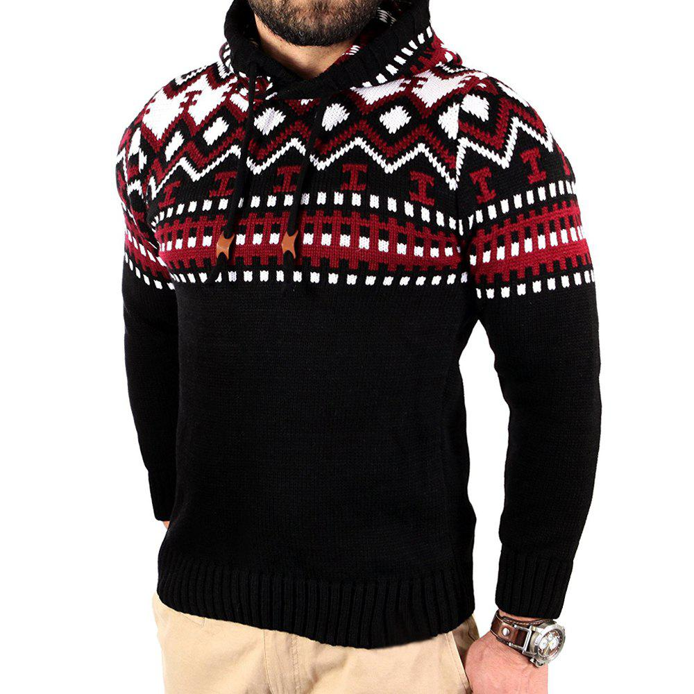 Men's Trend Hit Color Fashion Printed Casual Sweater - RED L