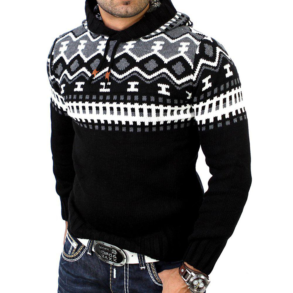 Men's Trend Hit Color Fashion Printed Casual Sweater - BLACK 2XL
