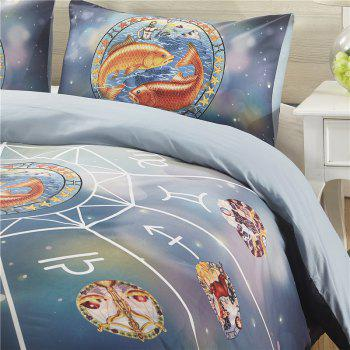 Explosion Models Selling 12 Constellations Pisces Quality Bedding Three-Piece - multicolor QUEEN