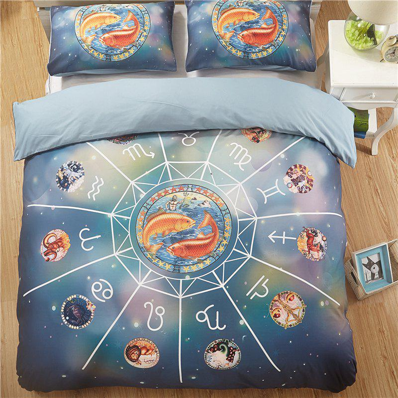 Explosion Models Selling 12 Constellations Pisces Quality Bedding Three-Piece - multicolor KING
