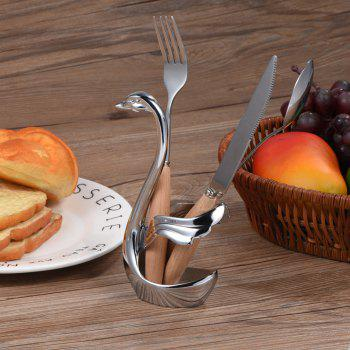1pc Swabase Spoon Holder Thickening Stainless Steel Fruit Forks for Home Kitchen - SILVER