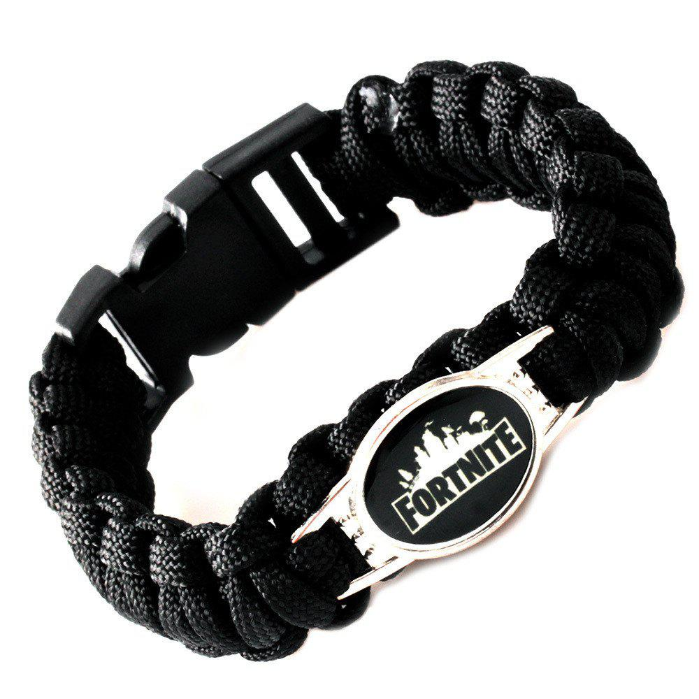 Game Fortnite Bracelet Alloy Punk Men Women Jewelry DIY Braided Bangle - BLACK