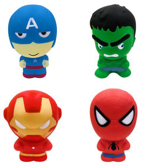Jumbo Squishy New Slow Rebound Superhero Release Stress Toy 4PCS - multicolor A