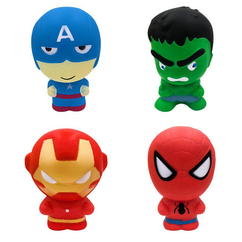Jumbo Squishy Nouveau Slow Rebond Superhero Relâcher Stress Jouet 4 PCS - multicolor A