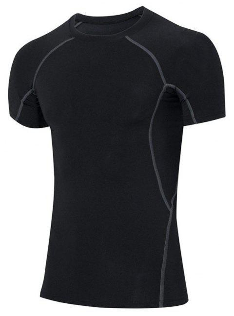 Men's Skinny Fitness Running Elastic Short Sleeve T-Shirt - BLACK M