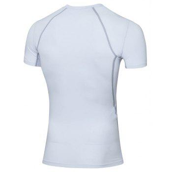 Men's Skinny Fitness Running Elastic Short Sleeve T-Shirt - WHITE S
