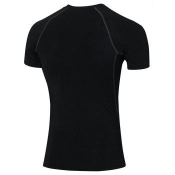 Men's Skinny Fitness Running Elastic Short Sleeve T-Shirt - BLACK L