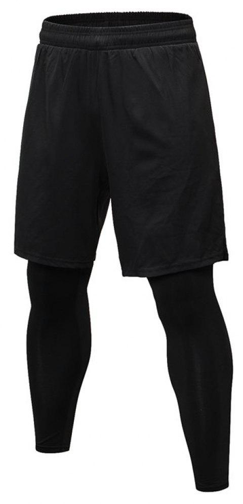Men's Fitness Running Training Elastic Quick-drying Trousers - BLACK S
