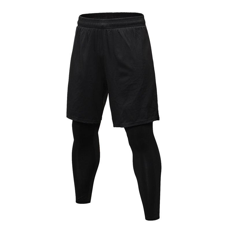 Men's Fitness Running Training Elastic Quick-drying Trousers - BLACK 2XL