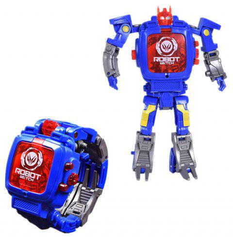 Deformation Electronic Sports Cartoon Watches Robot Transformation Toy - OCEAN BLUE