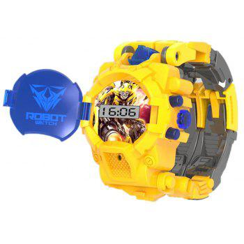 Deformation Electronic Sports Cartoon Watches Robot Transformation Toy - RUBBER DUCKY YELLOW