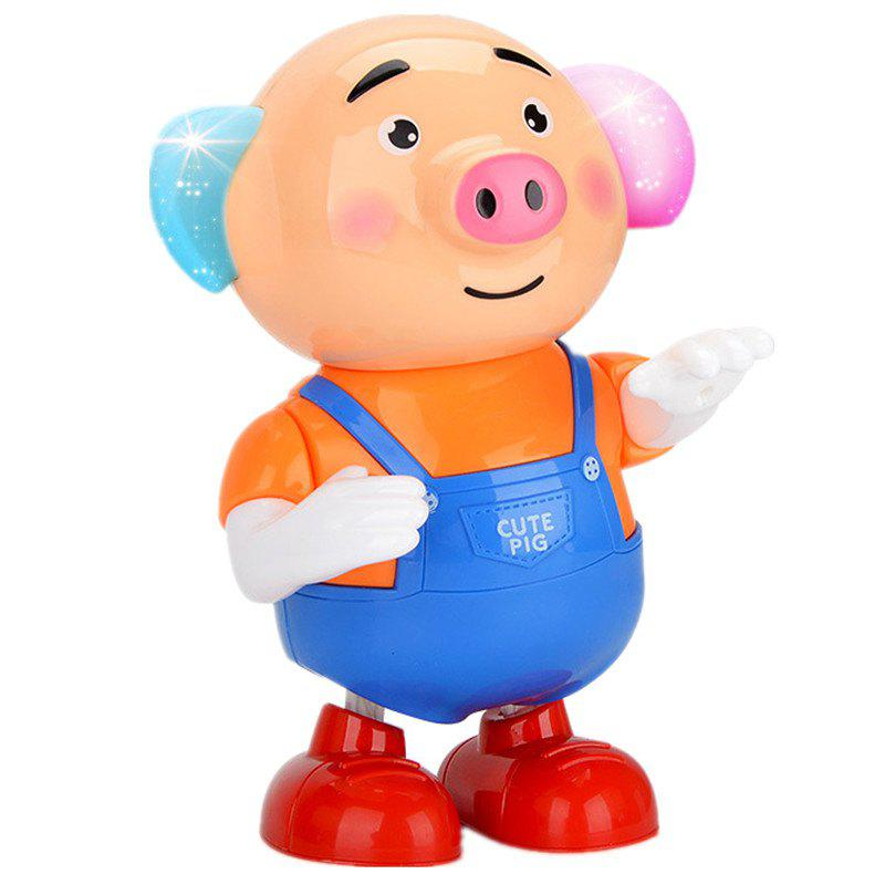 Dancing Singing Walking with Light Sprouting Pig Electronic Toy - multicolor A