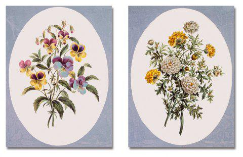 2PCS Plant Flowers Print Art - multicolor