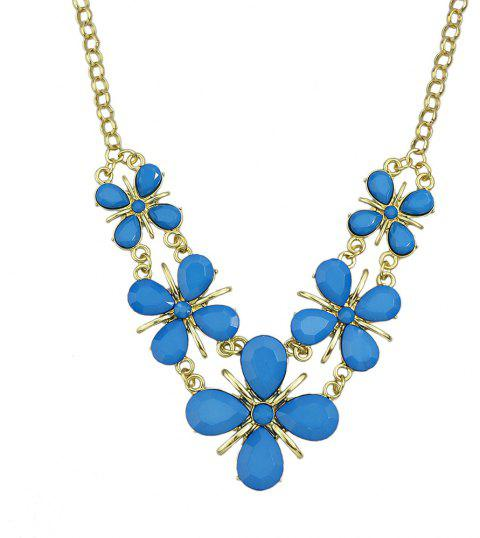 Water Drop Gemstone Flower Necklace for Women - multicolor