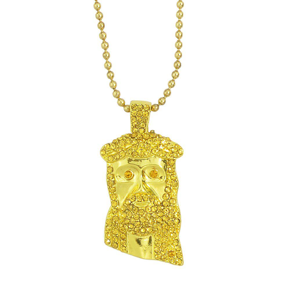 Colorful Shiny Rhinestone Head Pendant Necklace for Women - GOLD