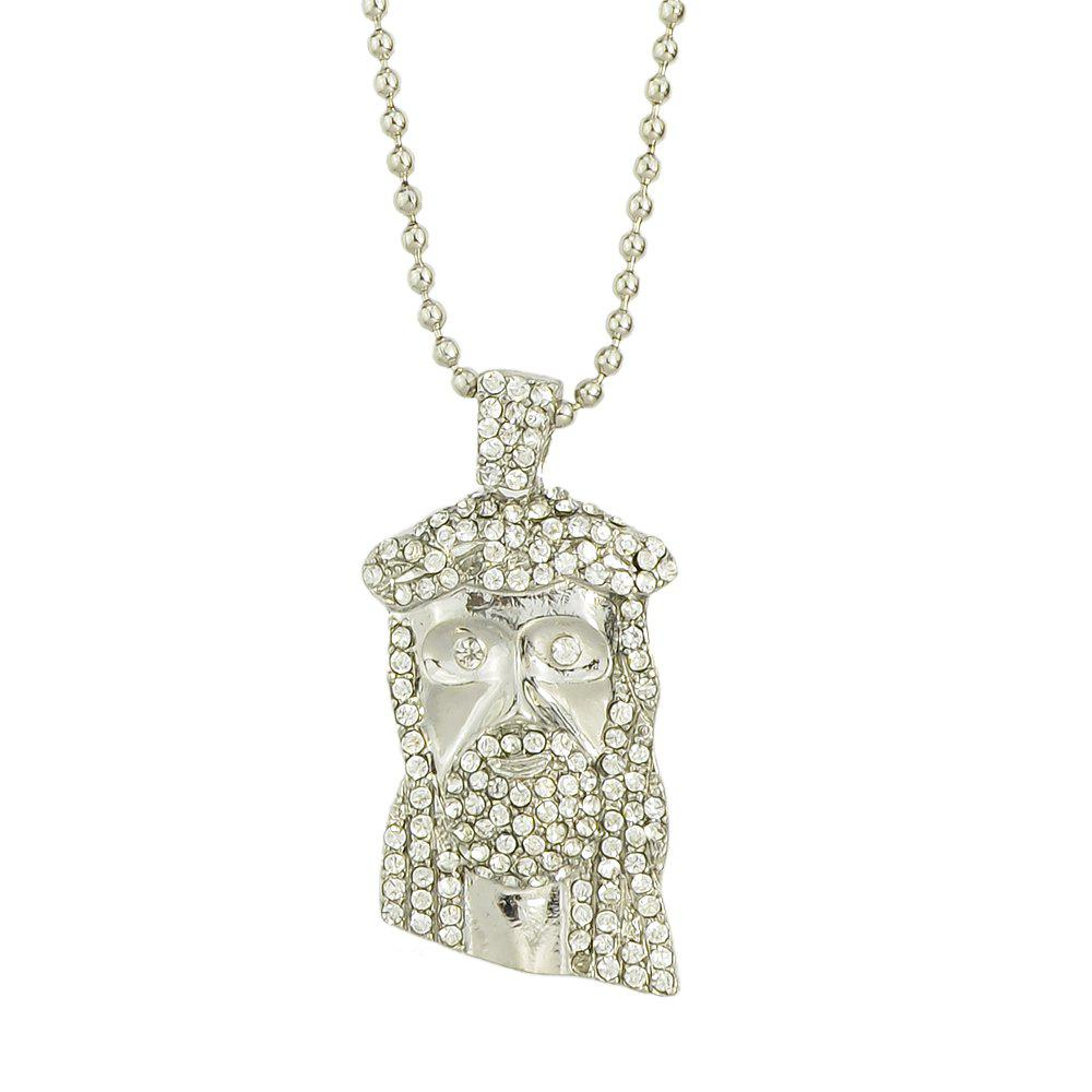 Colorful Shiny Rhinestone Head Pendant Necklace for Women - SILVER