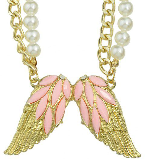 Multicolor Gemstone Wings Pendant Necklace - PINK